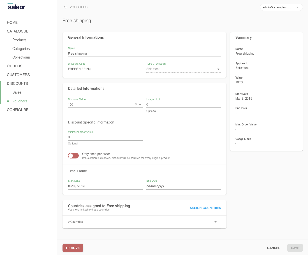 Creating a voucher for free shipping in Dashboard 2.0