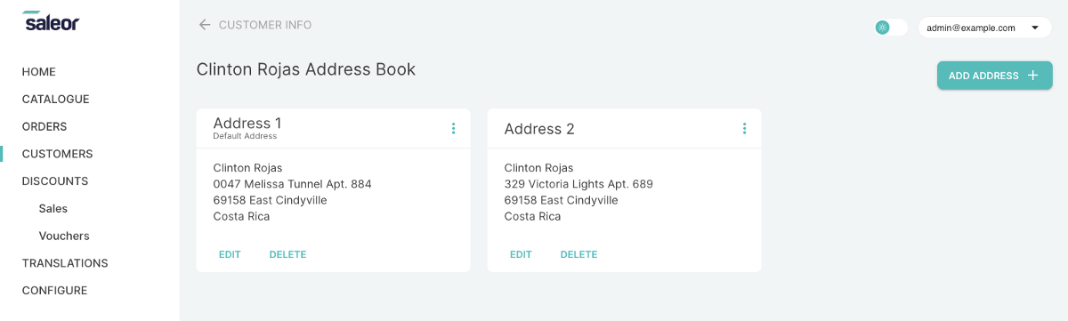 Customer's address book in Dashboard 2.0